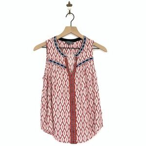 Market & Spruce Embroidered Ikat Tank Top Medium
